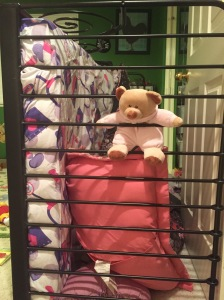 Pink Bear strikes again, flipping Brontë's bed into a jungle gym