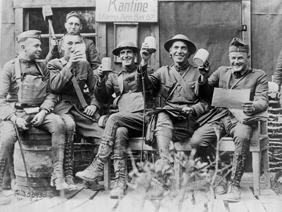 officers-celebrate-at-captured-german-canteen.jpg