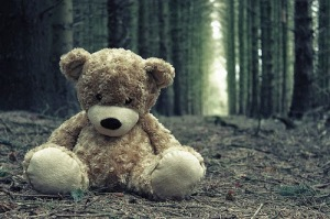 Teddy Bear lonely and sad alone in Love failure